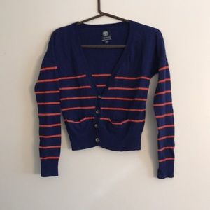 American Eagle Blue and Orange Striped Sweater
